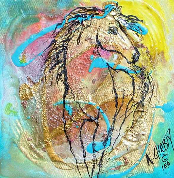 small abstract horse series painting done in acrylic/mixed media on canvas in warm tones, contemporary style