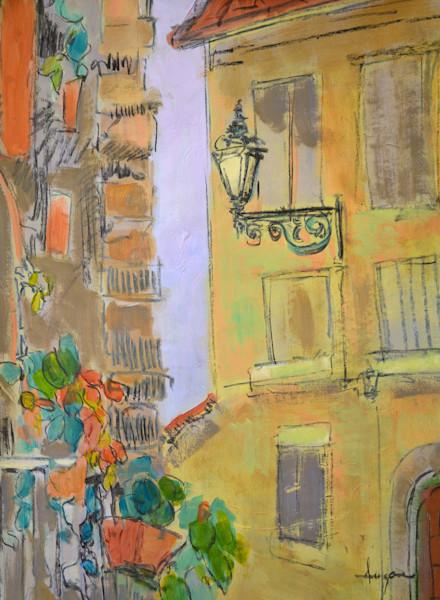 The Lamp Post - Original Mixed Media Painting Dorothy Fagan Collection