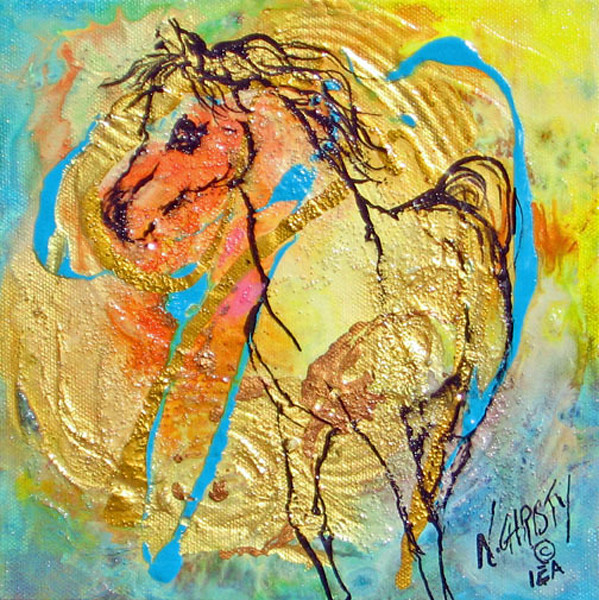 Small original horse painting in abstract sketchy style