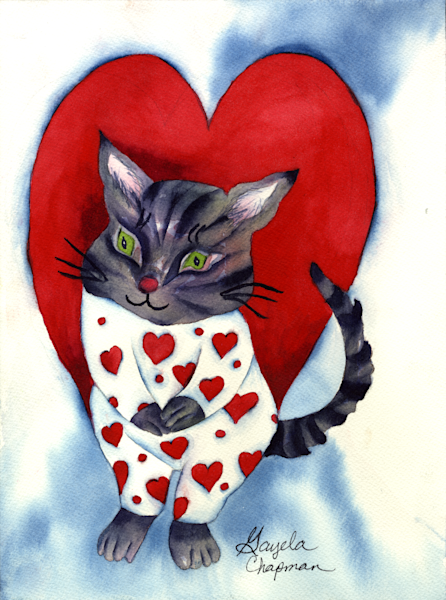 Cat in Heart PJ's art by Gayela's Premiere Watercolor|Main Store
