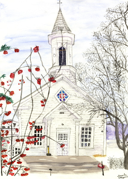No cabin fever with these blues.  Watercolor paintings of winter scenes by Gayela Chapman-McKelvie, Gayela's Premiere watercolors.