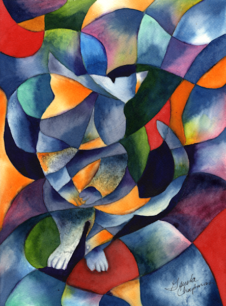 Cat Kaleidoscope Abstract painting and art for sale by Gayela Chapman-McKelvie, Gayela's Premiere Watercolor|Main Store