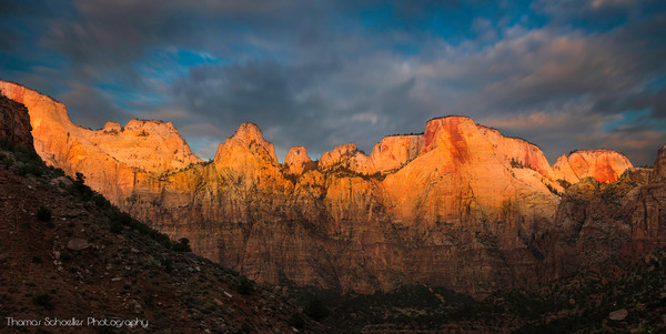 Amazing sunrise captured at Towers of The Virgin/Zion National Park Utah/Fine art prints by Thomas Schoeller