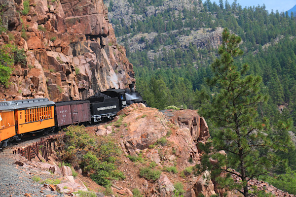 Old 482 rounding a cliff, S.W. Colorado