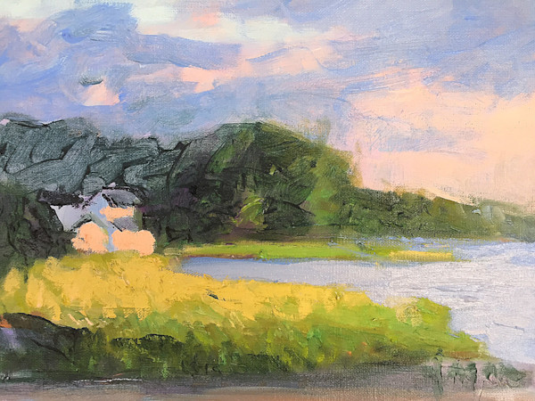 Nestled In | Sunset Cottage View Original Painting Dorothy Fagan Collection