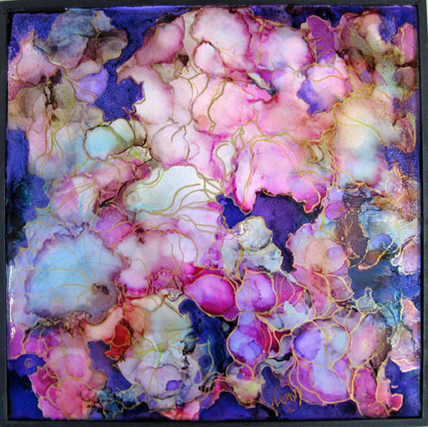 original, alcohol inks on gesso panel, small abstract floral