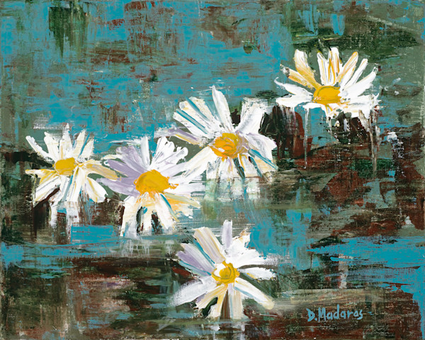 Abstract Floral Desert Painting by Diana Madaras | Daisies in the Lily Pond