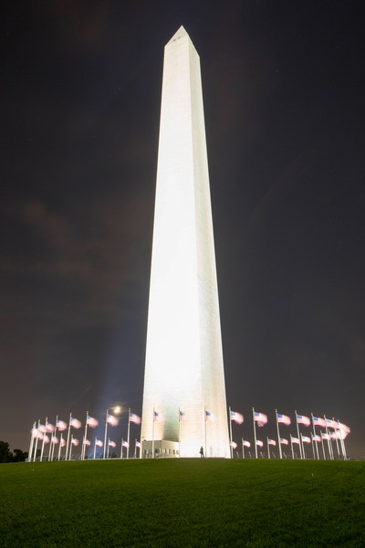 Flags Circling Washington Monument night photograph for sale as art by Mike Jensen