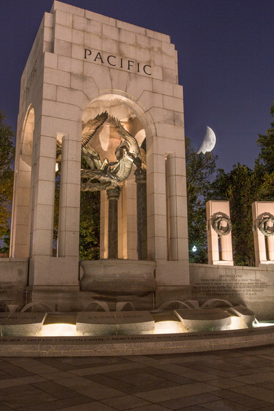 Moonrise Over WWII Memorial night photograph for sale as art by Mike Jensen