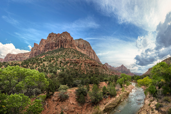 Virgin River and The Watchman - Zion National Park - Utah