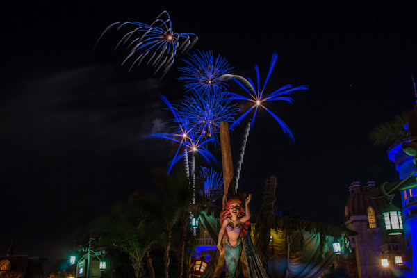 Little Mermaid Fireworks Photograph for Sale as Fine Art