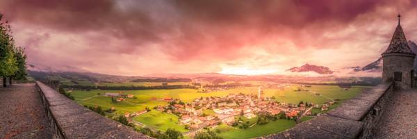 Village Sunset, Gruyeres, Fribourg, Switzerland