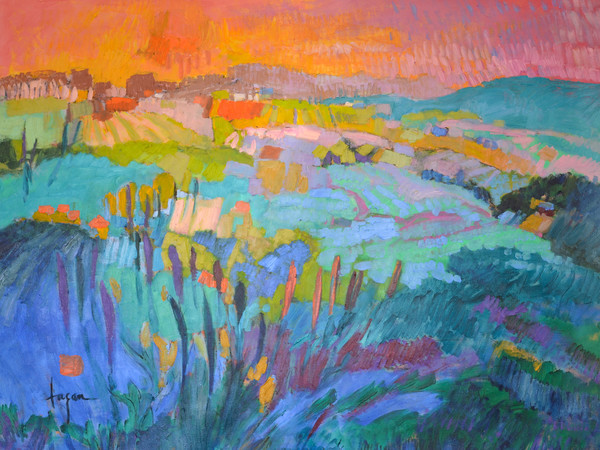 The Pond Within | Colorful Abstract Mountain Landscape Dorothy Fagan Collection