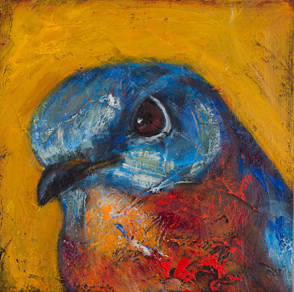 Saves Going to Heaven:Bluebird is an Open Edition print from an original acrylic on panel by artist Rosemary Conroy.