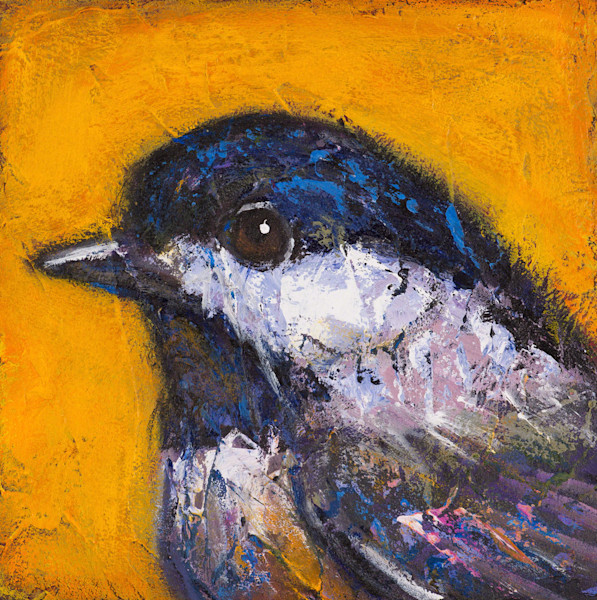 Artist Rosemary Conroy's portrait of a Black-Capped Chickadee is available as a print on Archival Canvas.
