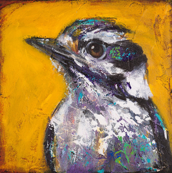 In Saves Going to Heaven: Woodpecker, artist Rosemary Conroy captures the alertness of a Downy Woodpecker in this open edition print from an original acrylic painting on panel.