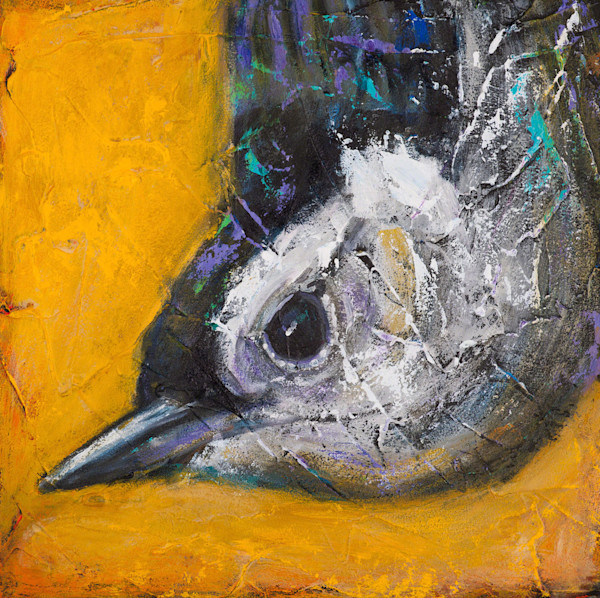 The nuthatch spends a great deal of time upside down, as he runs up and down a tree, looking for delicacies within its bark. From an original acrylic painting on panel titled Saves Going to Heaven: Nuthatch, artist Rosemary Conroy captures this littl