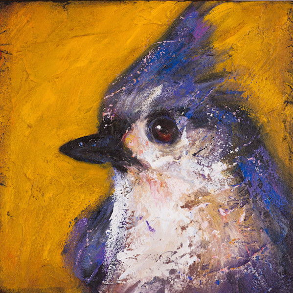 Saves Going to Heaven: Tufted Titmouse emerges in vivid blue glory from a bright yellow background. This wonderful feathery little fellow is captured perfectly by artist Rosemary Conroy.