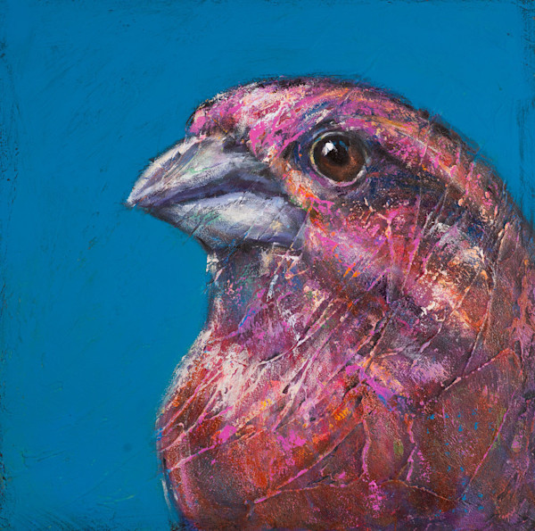 Wondrous Beings: Purple Finch, an orginal acrylic painting by artist Rosemary Conroy, showcases the brilliant purple plumage of this common songbird.