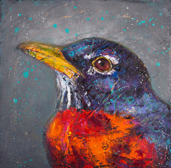 Beautifully set against a dark gray background, the vivid red of this robin's breast stands out in this reproduction from an original acrylic painting titled Wondrous Beings: American Robin by artist Rosemary Conroy.