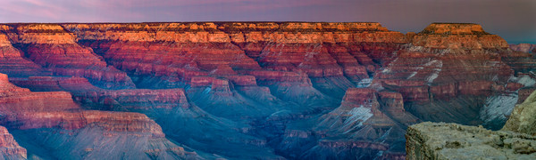 Grand Canyon Winter Sunset panorama photograph for sale as art by Mike Jensen
