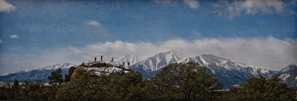 Hikers with Mt Princeton