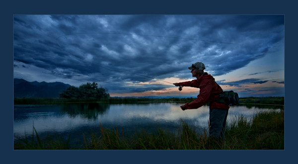 fly fishing at dusk