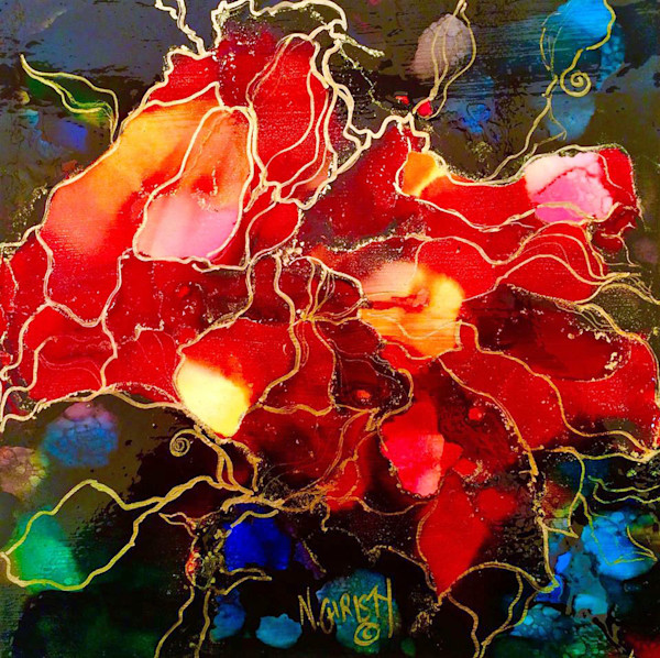 Small, brightly colored abstract floral painting