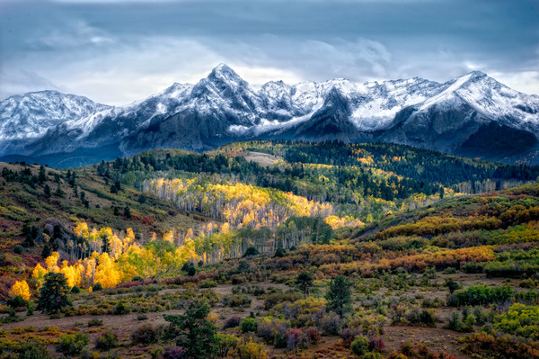 Mt Sneffels with autumn color in the valley
