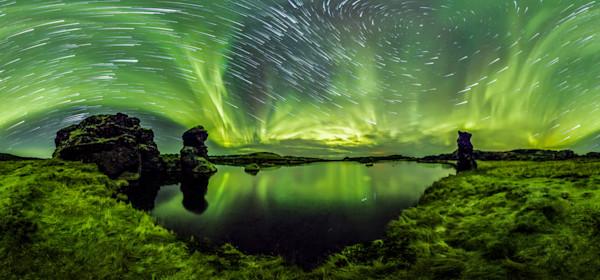 Lake Mývatn 360 Time-Lapse Aurora Panorama