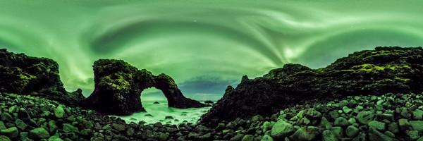 Auroras Over Gatklettur Sea Arch - 360 Panorama