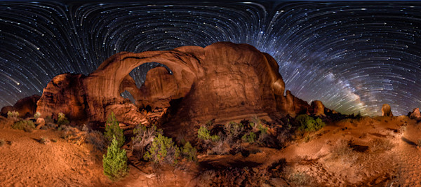 Double Arch & Milky Way Rising - 360 Panorama