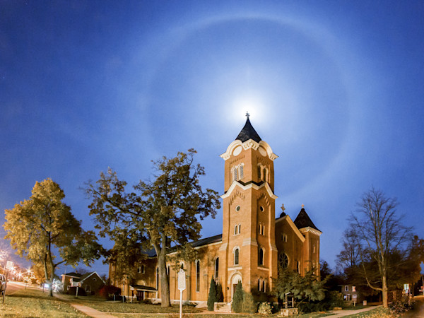 Moon Halo Over First Congregational Church