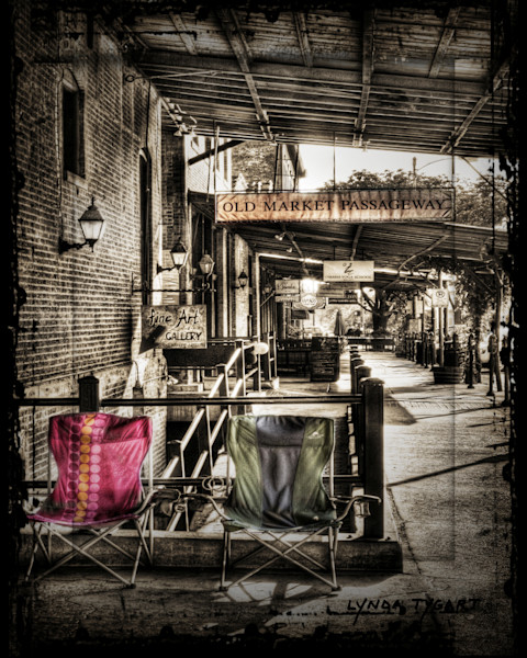 Lynda Tygart Chairs Old Market Omaha Nebraska – Fine Art Photographs Prints on Canvas, Paper, Metal and More.