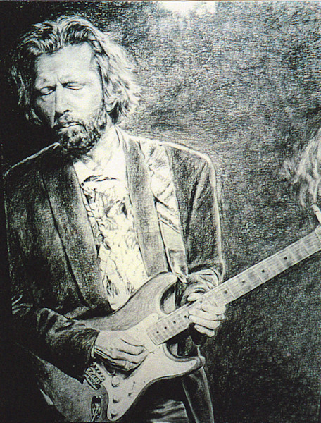 Eric Clapton portrait playing guitar