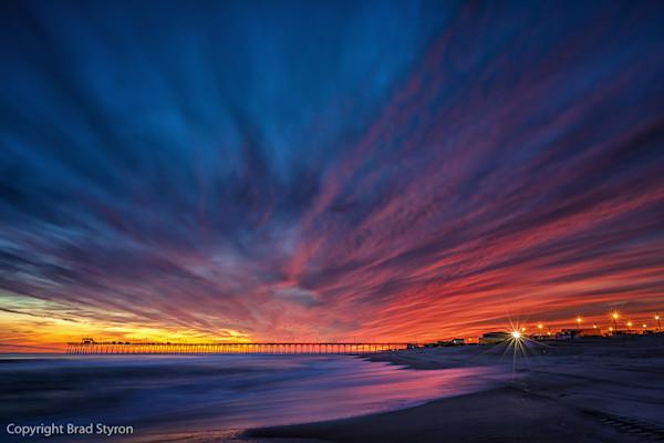 Blazing Sunset Behind Bogue Inlet Pier | © 2017 Brad Styron