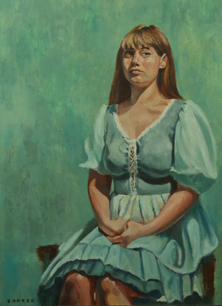 Booker,Tueller,Taken Aback,green dress,portrait,seated pose,figurative