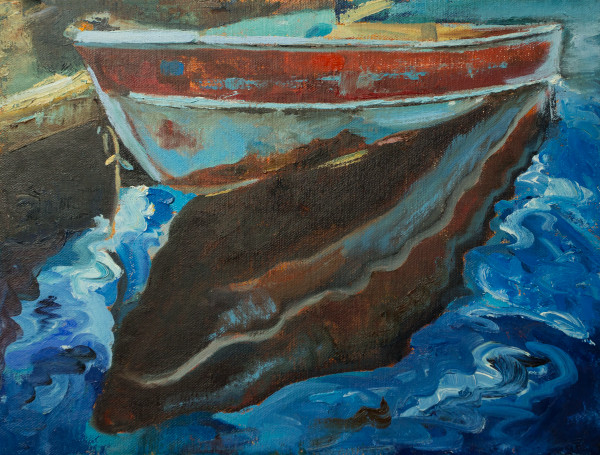 Booker,Tueller,seaside,red skiff,coastal,art,paintings