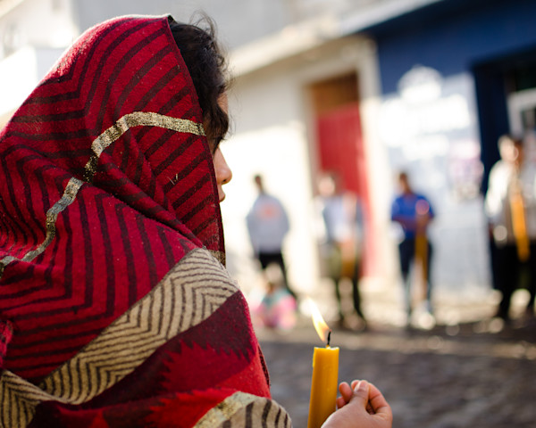 Woman With A Red Shawl  | Travel Photo For Sale