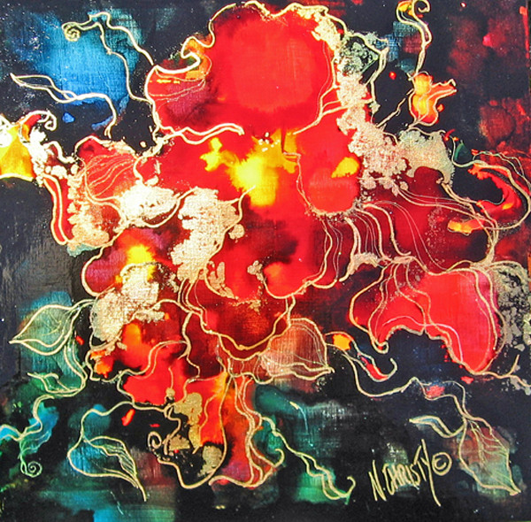 original, abstract floral, small size, bright colors, contemporary