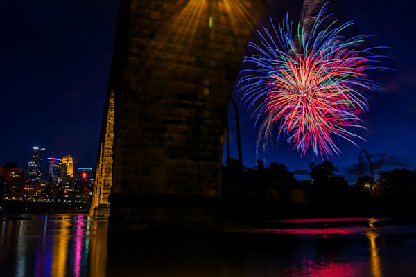 Under the Arch Fireworks Photograph for Sale as Fine Art