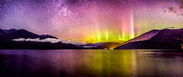 Northern Lights Over Slocan Lake, BC, Canada