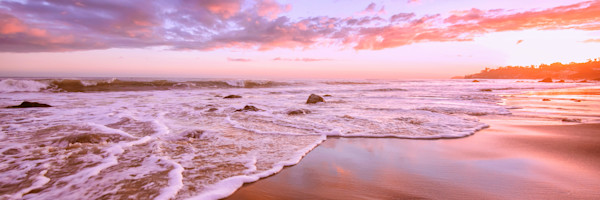 Panorama California Beach photograph. Malibu Sunset