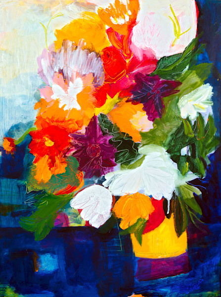 Big, bold and beautiful describes this stunning abstract image of a bouquet of flowers on a windowsill. At the Window, an original painting by artist Ruth-Anne Siegel, is a unique expression of her imagination and wonderful color palette.