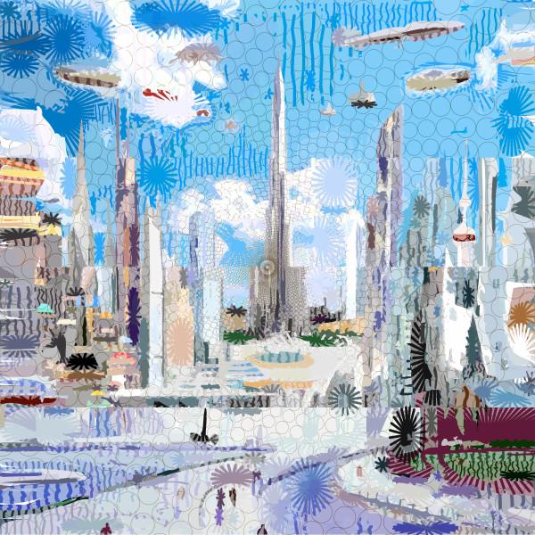 City of the Future Art Print by Peter McClard at VectorArtLabs.com
