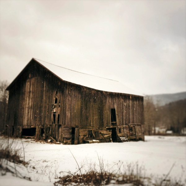Brown Winter Barn photograph - for sale as fine art prints