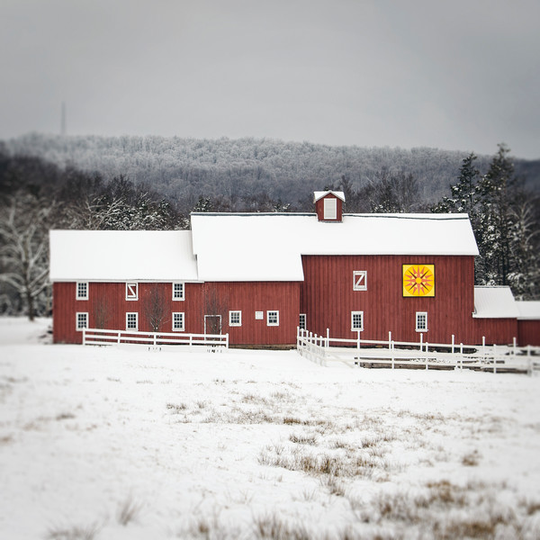 Red Barn in Winter photograph - for sale as fine art prints