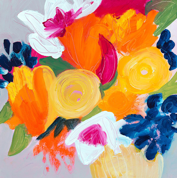 Is the Doorbell Ringing?, an original painting by Ruth-Anne Siegel, is stunning in its simplicity. Brightly colored abstract flowers created with bold, expressive strokes burst from the canvas, spreading their joy to everyone who sees them.
