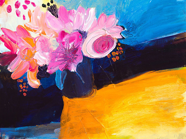 A lovely pink arrangement of flowers contrasts beautifully with the bright yellow and blue shapes in the background. Artist Ruth-Anne Siegel's Hayom Yom an is exuberant, brightly colored, and generally abstract image of a floral arrangement.
