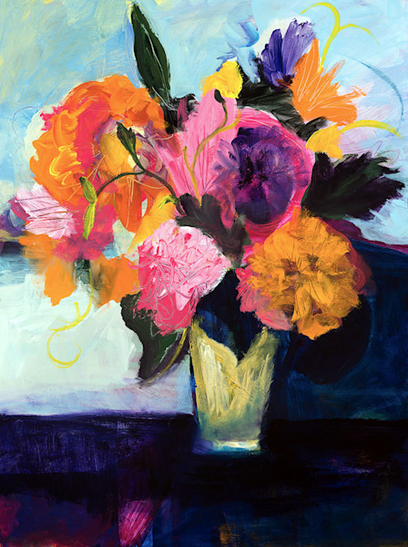 Reflections of the jewel-like colors in the flowers reflect off the surface of the table below the arrangement. The light and dark blue provide the perfect background for this stunning bouquet, giving Pensive Moment, an original painting by Ruth-Ann